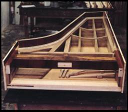 The world's first left-handed piano in its early stages of construction